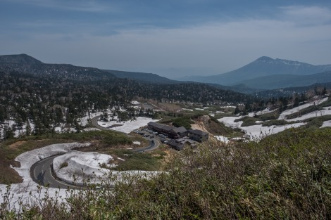 Looking back at Mt Hachimantai and the hot spring where I had two onsen eggs