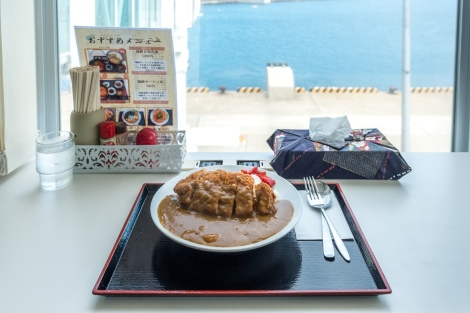 Having katsu curry and rice for lunch at the ferry terminal in Oma