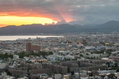 Sunset in Hakodate from the Goryokaku Tower