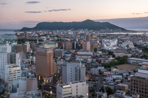 A view of Mt Hakodate from Goryokaku Tower