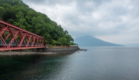 Lake Shikotsu and Yamasentetsu Bridge