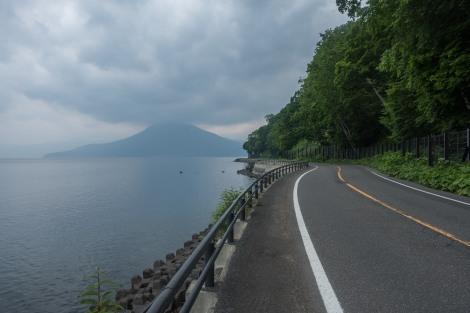 Route 453 beside Lake Shikotsu
