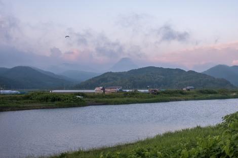 Mountain views at dusk from Hamamasu
