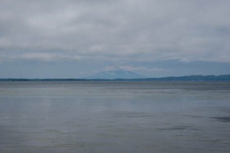 The only picture I have of Rishiri island! (The mountain across the sea)