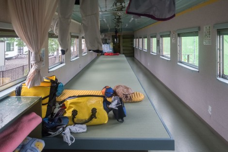 The train carriage accommodation at Michi-no-Eki Okoppe
