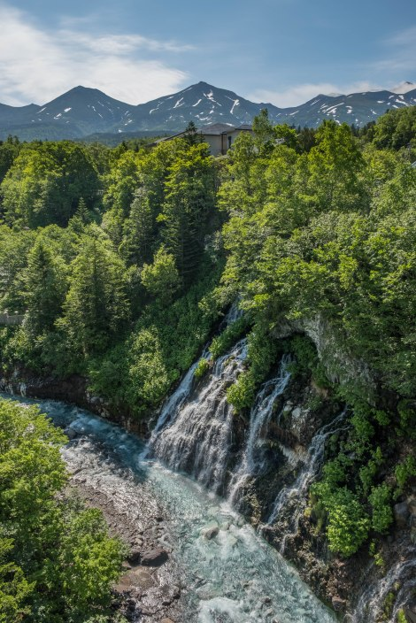 Shirahige falls and Mt Biei in the background, Shirogane Hot Spring