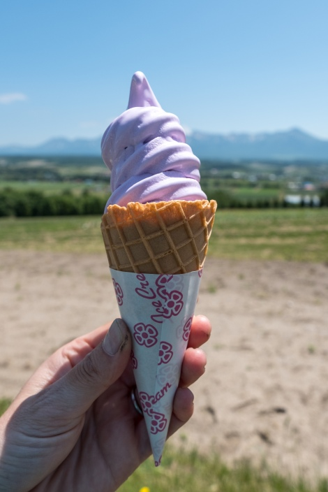 A lavender ice cream from Flower Land Kamifurano