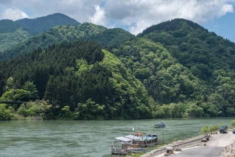 The Agano river where Isabella Bird sailed down to Niigata in 1878
