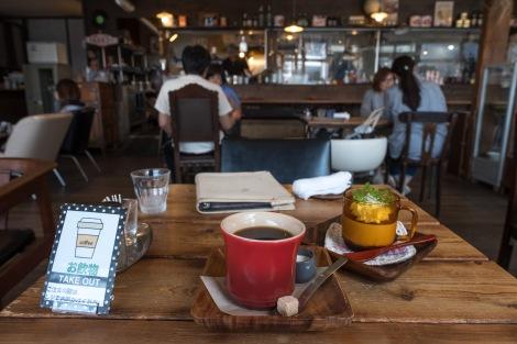 Morning tea of coffee and tiramisu at the cool Cafe Oyaji in Inawashiro