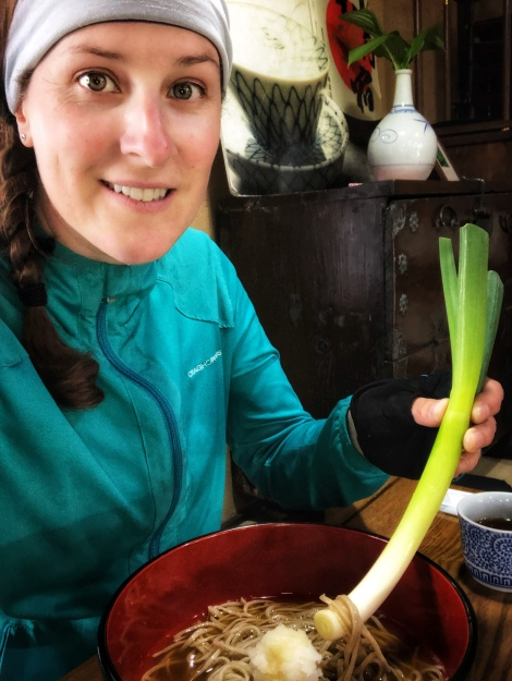 Selfie eating Takato-soba with the giant leek