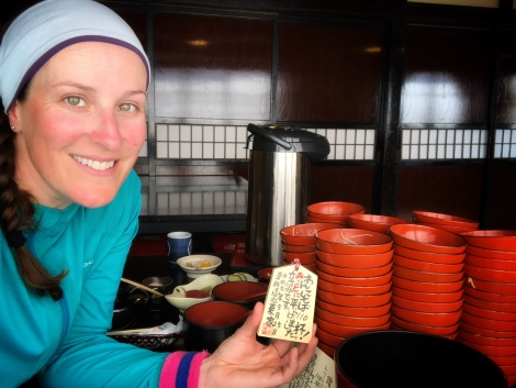 With my special wooden plaque for eating 110 bowls of wanko-soba at Azumaya Honten in Morioka