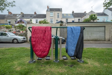 Drying out our sleeping bags in Lower Common Park, Pembroke