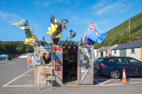 Colourful carpark payment booth in Lower Solva