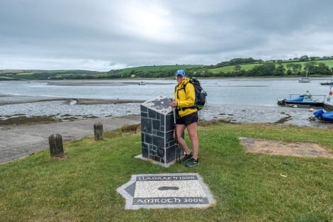 KC at the end marker of the Pembrokeshire Coast Path in St Dogmaels!
