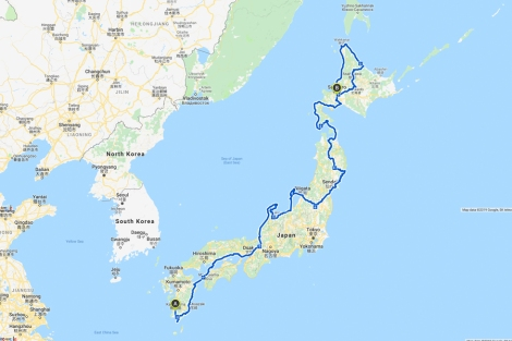 My 4,529km route cycling the length of Japan