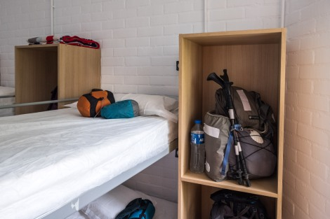 Top bunk for me (not my choice!) and room for my Gossamer Gear Mariposa backpack (still going strong since the PCT in 2015) at Albergue de Peregrinos de Irun