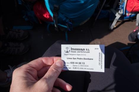 80 cents for the short ferry crossing at Pasajes de San Juan
