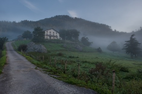 Basque countryside views on a misty morning