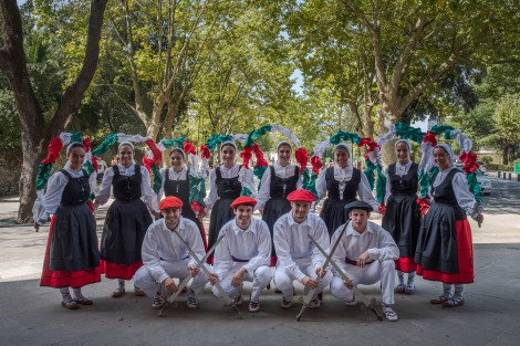 A group of traditional Basque dancers waiting for the new Bride and Groom to exit the Basilica of Begoña in Bilbao