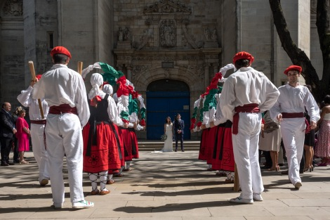 We were invited to stay and watch the traditional Basque dance that welcomed the new Bride and Groom