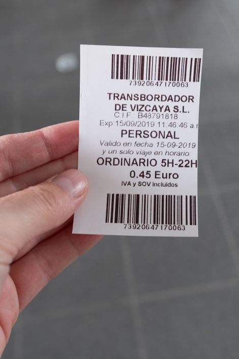 My 45 cent ticket to cross the river on the Vizcaya Bridge cable car