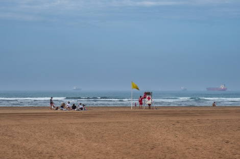 Playa de la Arena and cargo ships in the background