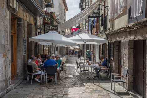 A restaurant street in the old town of Laredo
