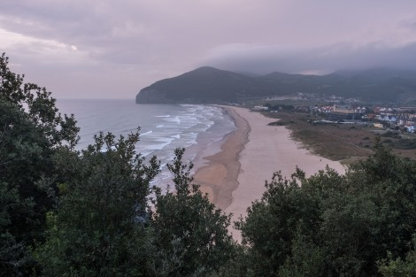 Sunrise views looking back at Playa de Berria