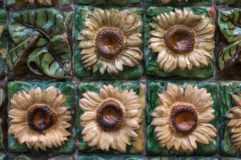 Sunflower tiles at El Capricho de Gaudi
