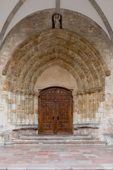 The entrance to the 12th century Church of St Mary of the Council (Iglesia de Santa María del Conceyu)