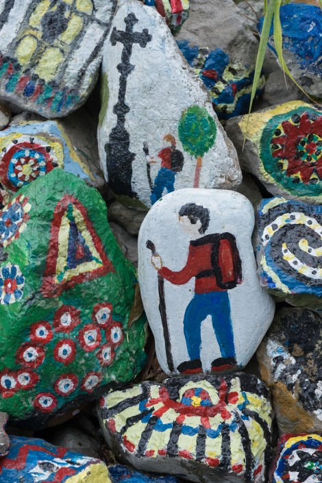 Stones painted with pilgrim images