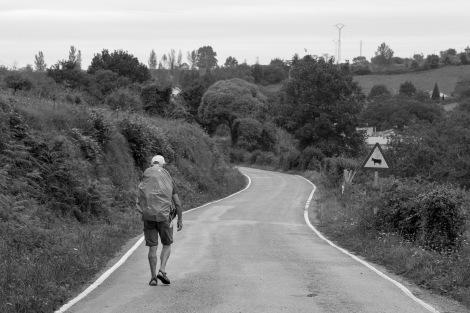 A pilgrim walking the Camino del Norte