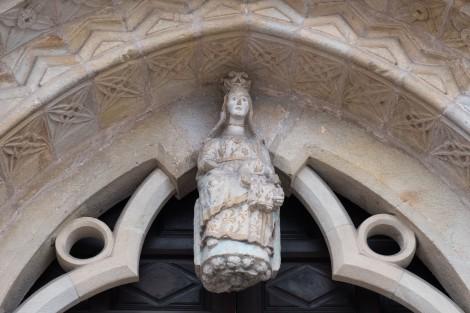 The entrance to the 13/14th century Parish Church of Our Lady of Oliva (Iglesia de Santa María de la Oliva), Villaviciosa