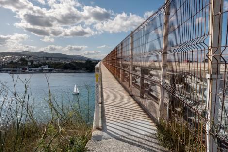 Crossing the bridge (N-634) over the Ría de Ribadeo into Ribadeo and Galicia