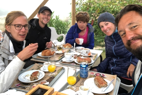 Breakfast pit-stop with my Camino family and the coldest morning yet (the first time I've worn my beanie)