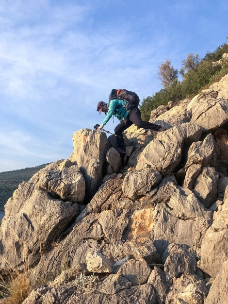 Me scrambling over the rocks to Kalkan (iPhone)