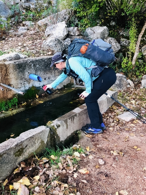 Filling up my Water-to-go filter bottle on the Lycian Way