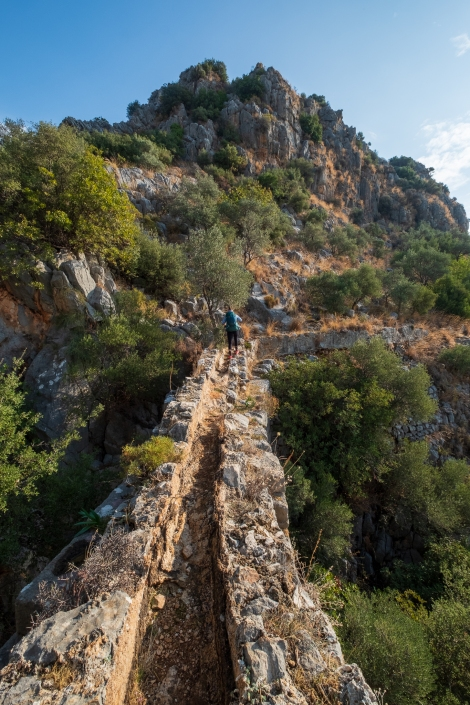 Walking along an ancient Roman aqueduct on the Lycian Way