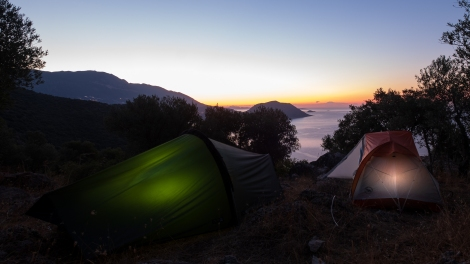 Getting ready to set off at first light on the Lycian Way