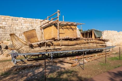 A replica ancient reed boat at the Patara ruins on the Lycian Way