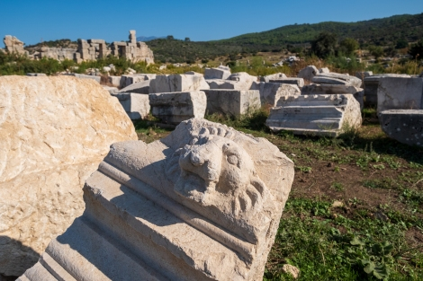 A lions head at the Patara ruins