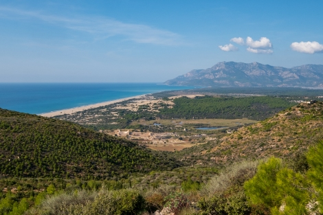 Looking back down on the site of the Patara ruins on the Lycian Way