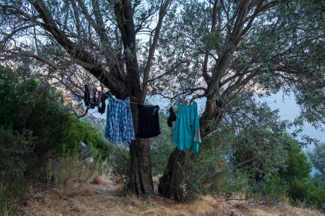 Hanging up our clothes to dry after a very hot and sweaty day on the Lycian Way!