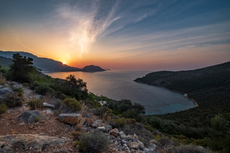Sunrise near Delikkemer on the Lycian Way