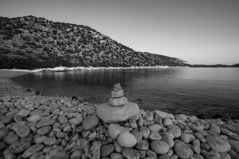 Cairns and coast at Cakil beach on the Lycian Way