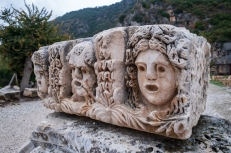 Carved images lie near the ancient Lycian amphitheatre of Myra