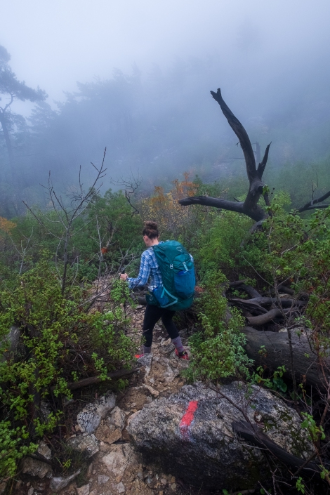Descending into the mist on the Lycian Way