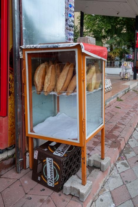 The fresh bread cupboard outside a market