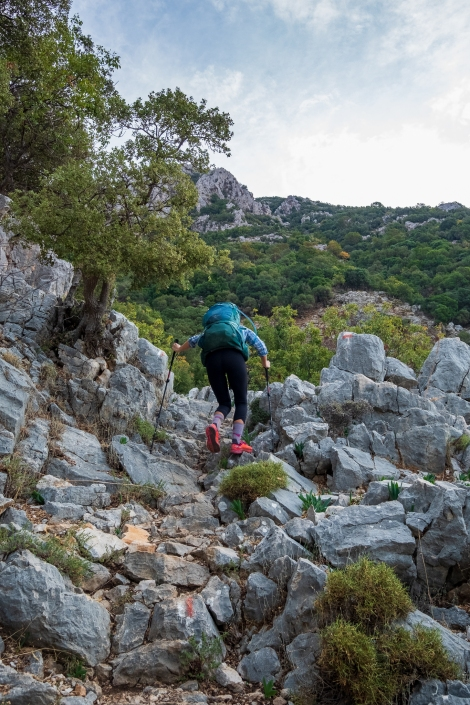 Sarah tackling the rocky terrain on the Lycian Way