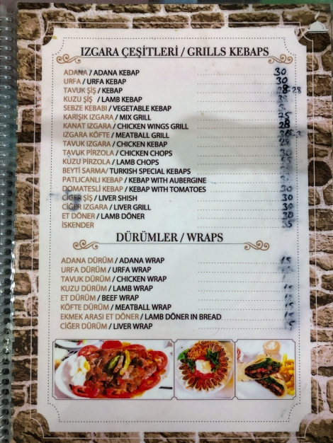 Dinner menu at the only place open in town!